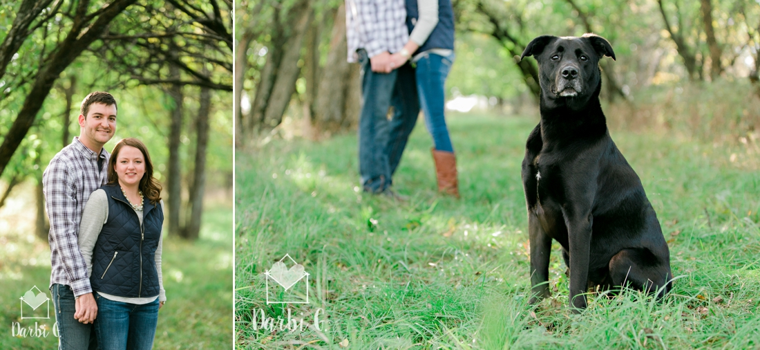 Kansas rural farm land engagement photos with a dog by darbi g photography